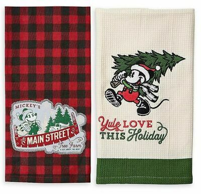 Disney Parks 2019 Mickey Mouse Christmas Dish Kitchen Towel Set of 2 NWT