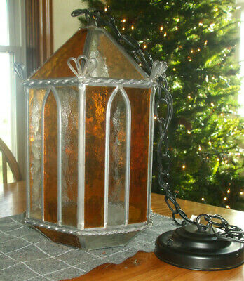 Vtg Gothic Stained Leaded Glass Hanging Ceiling Light Fixture Chandelier~Amber