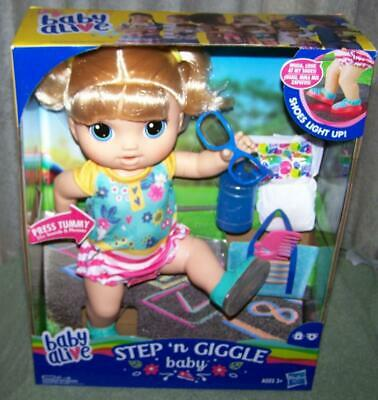 """Baby Alive Step 'n Giggle Baby Blonde Hair Doll 13.5""""H New"""
