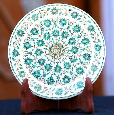 White Marble Round Serving Plate Malachite Inlay Arts & FREE Candle Holder Decor