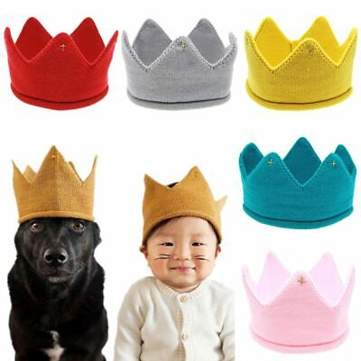 Baby Kids Headwear Crown Knit Headband Hat Photography Props Boys Girls