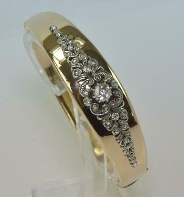 Armreif Armspange mit Diamanten 0,8 ct. in 14 Kt. 585 Gold Historismus antik