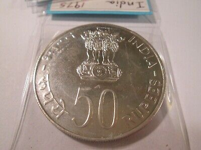 1975 India Silver 50 Rupees Fao Proof  Wt11