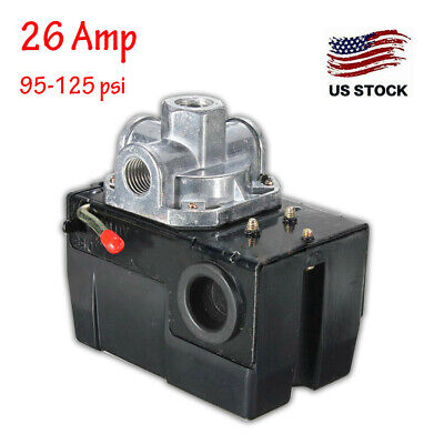 Heavy Duty Pressure Switch for Air Compressor 95-125 psi Four 4 Port 26 Amp
