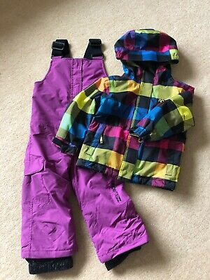 Girls Snow Ski Suit, Ripcurl Ski Jacket & Wedze Ski Dungarees, Age 2, Great Cond