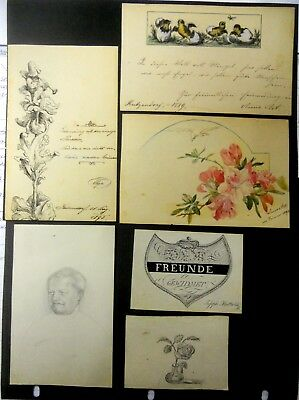 Vintage German Folk Art Collection Of 6 Pen & Ink And Or Hand Painted Cards.