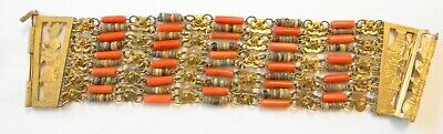 "Egyptian Revival Gods Faience Bead Coral Multi Strand 7"" Bracelet 42mm Wide"