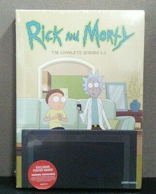 Rick And Morty: The Complete - Seasons 1-3    (DVD w/Slipcover)  BRAND NEW