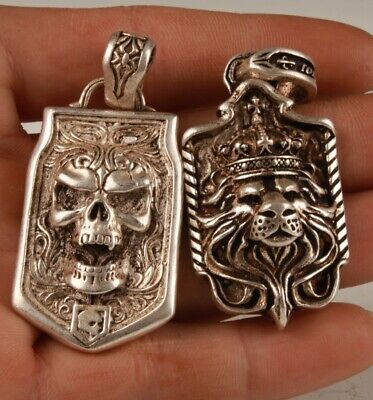 2 Chinese Tibetan Silver Hand Carving Skull Lion King Pendant Cool Collec Old