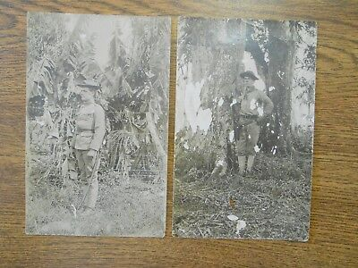 2 Pre 1912 Post Spanish American War Era Real Photo German Postcards US Soldier