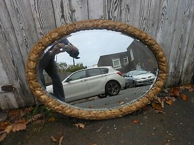 Rare Antique Bevelled Edge Oval Mirror with Decorative Hand Carved Frame