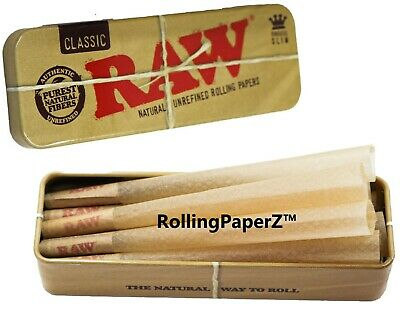 Raw King Size Prerolled Cones 6 Count With Raw King Size Metal Cone Caddy Tin -
