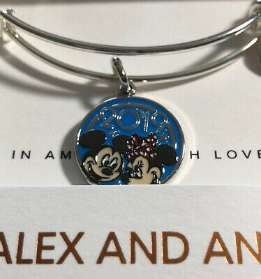 Disney Parks Alex And Ani Mickey And Minnie Mouse 2019 Silver Bangle Bracelet