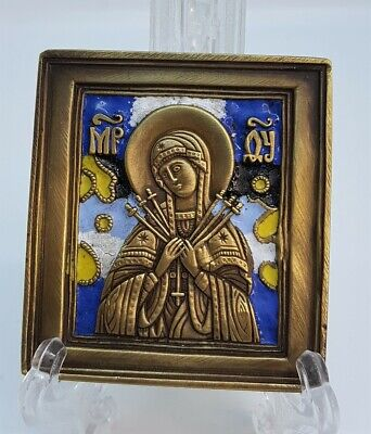 Russian orthodox bronze icon The Softener of Evil Hearts. Enameled!