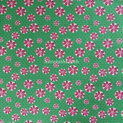By The Yard Christmas Peppermint Candy Toss White Cotton Fabric Kanvas Studio