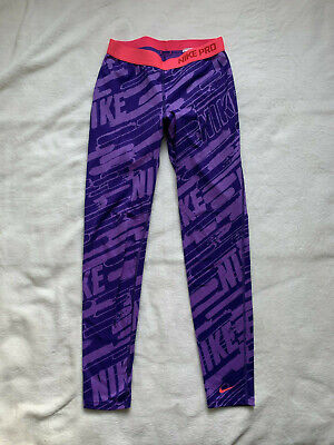 NIKE Pro Girl's Leggings in Purple.