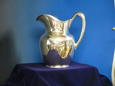 Fabulous Large & Impressive Antique Silverplate Pitcher Coat of Arms Motto 1935