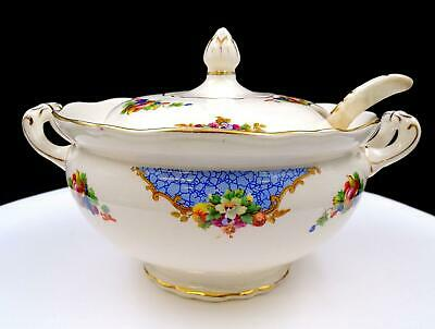"""English Porcelain Floral And Fruit Motif 8"""" Mini Tureen And Ladle"""
