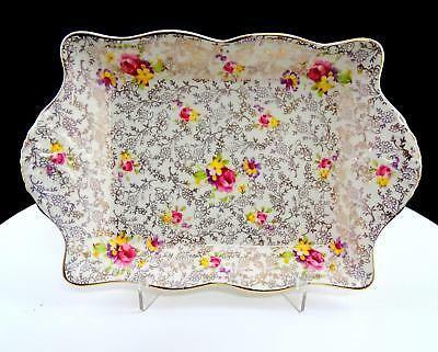 "Fenton James Kent England Pearl Delight Pink & Yellow Chintz 9"" Handled Tray"