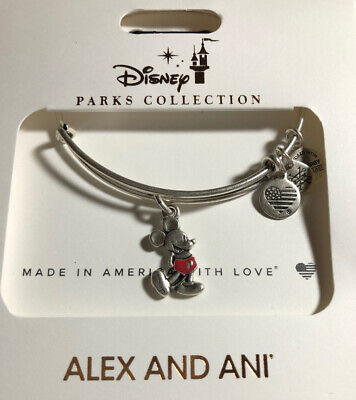 Disney Parks Alex And Ani Vintage Mickey Mouse Silhouette Silver Bracelet