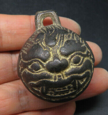 Ancient Bronze Bell Both Sides Beast Head Amulet