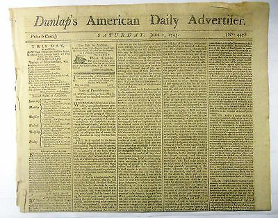 Dunlap's American Daily Advertifer Set of Four, Very Rare Newspapers from 1793