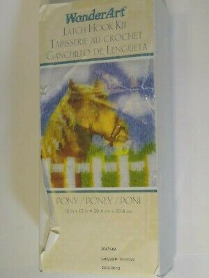 """Pony Horse Latch Hook Rug Kit Wonderart 12"""" x 12"""" partially completed Colorful"""