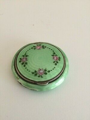 VINTAGE Antique Enamel Compact C1920-30s Green Pillbox painted Roses