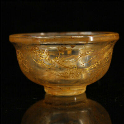 """3.74""""Exquisite Chinese crystal Handmade carving character pattern Small bowl"""