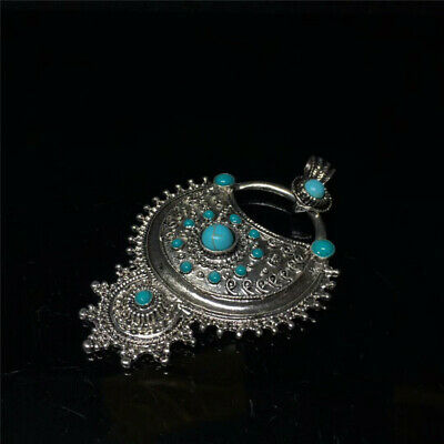 """3.62"""" Exquisite Nepal copper silvering inlay Turquoise Tibetan Style Pendant h92"""