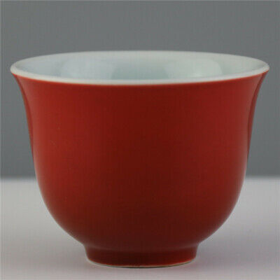"3.35""Exquisite Chinese Antique Red glazed porcelain Handmade wineglass teacup"