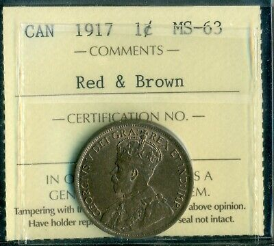 1917 Canada Large Cent, King George V, ICCS Certified MS-63 Red and Brown