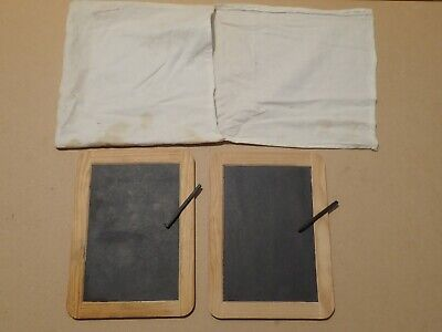 Victorian style school wrighting slates with bag        (Y381)