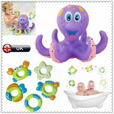 Floating Octopus Bath Toy Baby Boy Girl Kids Infant Toddlers Play +5 Ring Shower