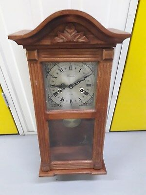 Vintage Lincoln 31 Days Movement Wooden Wall Hanging Clock, Key Winding Working