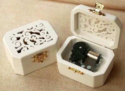 White Wood Octagon Carving Music Box ♫  Harry Potter Hedwigs Theme ♫