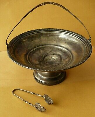 Vintage Sterling Silver Pedestal Candy Dish Weighted Base with Little Leaf Tong