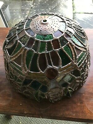 Old Leaded & Stained Glass Lamp Shade Light Fitting - Absolutely Beautiful!
