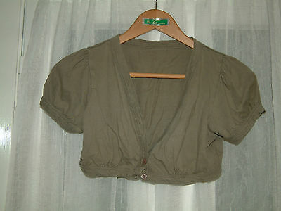 Girls olive green cap sleeve v neck cropped bolero cardi shrug 2 buttons 13-14