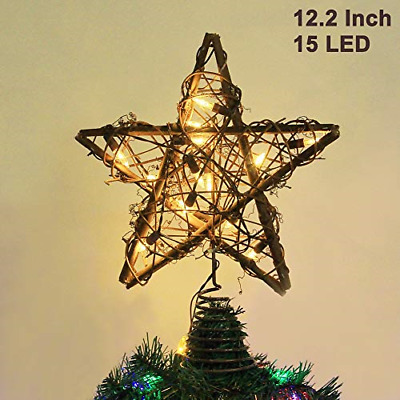 Twinkle Star Christmas Star Tree Topper, Rustic Rattan Treetop with 15 LED Tree