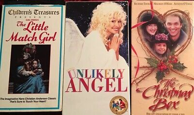 RARE Little Match Girl 1984 + Christmas Box + Unlikely Angel Dolly Parton  3 VHS