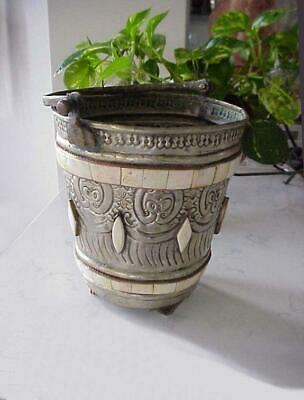 ANTIQUE FOOTED TOOLED ALUMINUM METAL BUCKET PAIL w/ HANDLE & SHELL DECOR