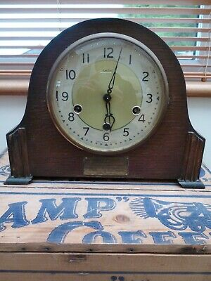 Rare Green Vintage Art Deco SMITHS ENFIELD WESTMINSTER Mantel Clock Key Pendulum