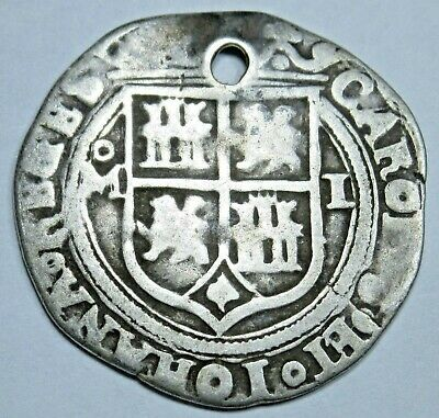 1500's Spanish Mexico Silver 1 Reales Carlos & Johanna Antique One Real Cob Coin
