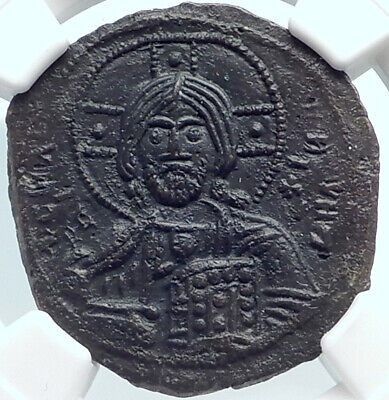 JESUS CHRIST Class A3 Anonymous Ancient 1020AD Byzantine Follis Coin NGC i81870