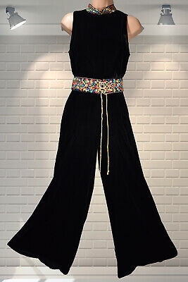 Fabulous Vintage 1960s 70s Velvet Wide Legged Palazzo Jumpsuit All In One XS