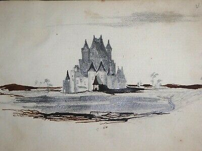 Victor Hugo Dessin Original Monogramme Chateau Fort Collection Alfred Cortot