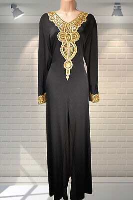 FABULOUS Vintage 1980s Slinky Gold Embroidered Lurex & Black Jumpsuit XL
