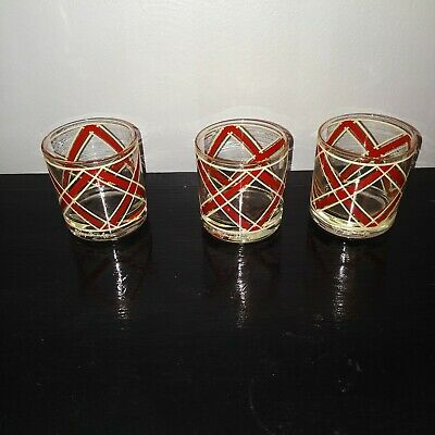 Lot of 3 Vintage Georges Briard Drinking Scotch Whiskey Glasses Red/White Plaid~