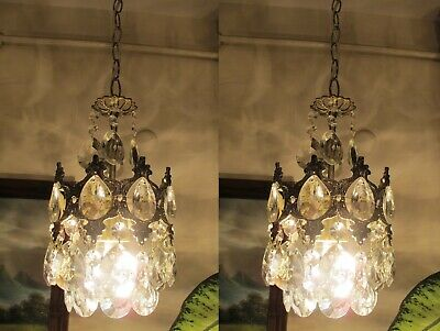 PAIR OF Antique Silver Plated FRENCH Basket style Crystal Chandelier Light Lamp.